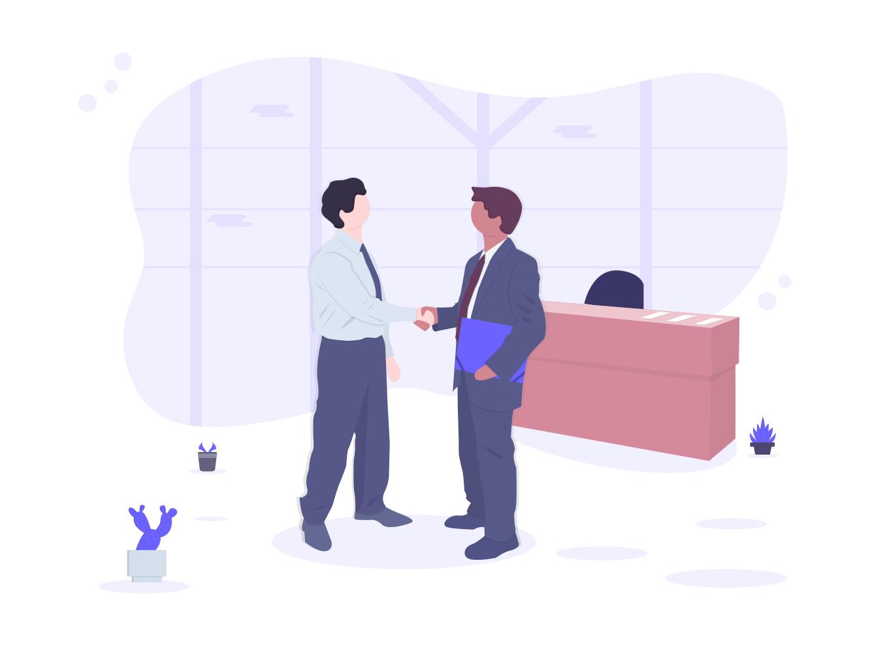 ビジネスマンが握手している画像