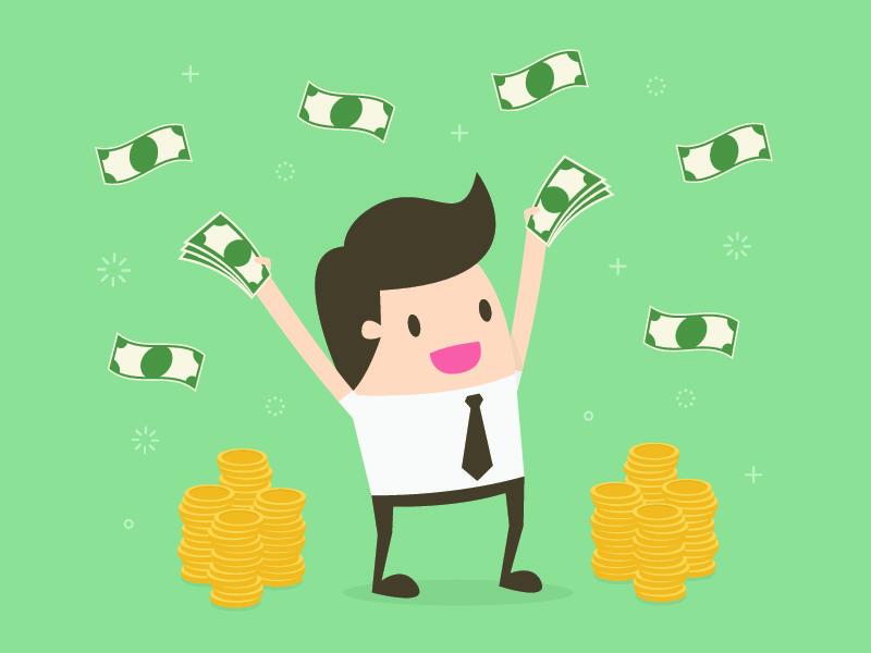 お金をばらまいている若い男性の画像